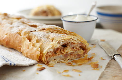 Kosher almond and pear strudel