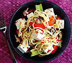 Tofu with sweet and spicy noodles
