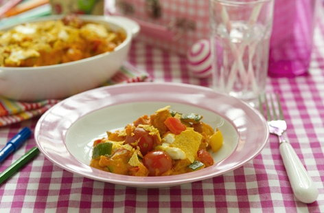 Tomato, chicken and vegetable bake
