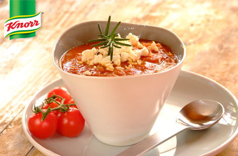 Tomato, chickpea and feta soup