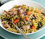 Tuna pasta salad with walnut pesto