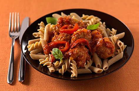 Turkey meatballs & pepper sauceTHUMB