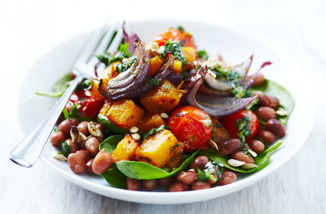 Roasted butternut squash salad with coriander dressing