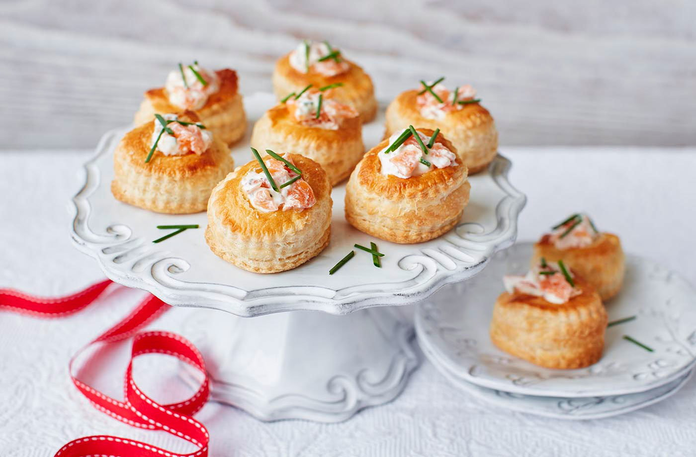 Salmon vol au vents christmas party tesco real food for Canape fillings