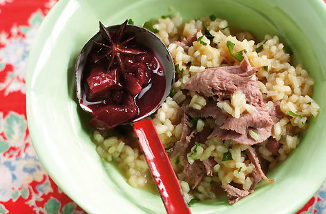 Wafer Sliced Duck Risotto with Spiced Plums and Star Anise HERO