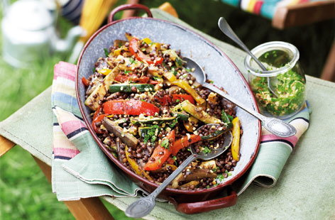 Warm lentil salad with summer vegetables HERO