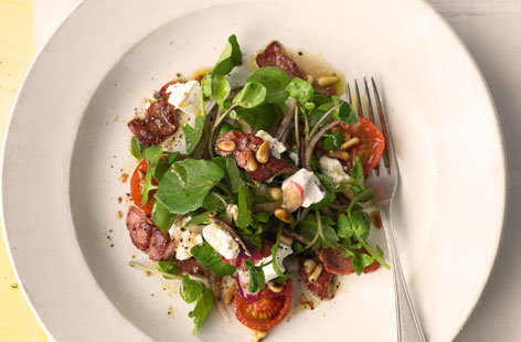 Watercress, roasted tomato, feta and bacon salad