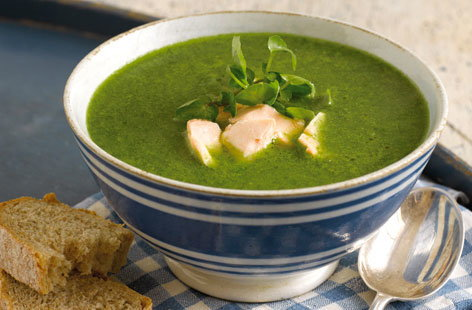 Watercress and flaked salmon soup