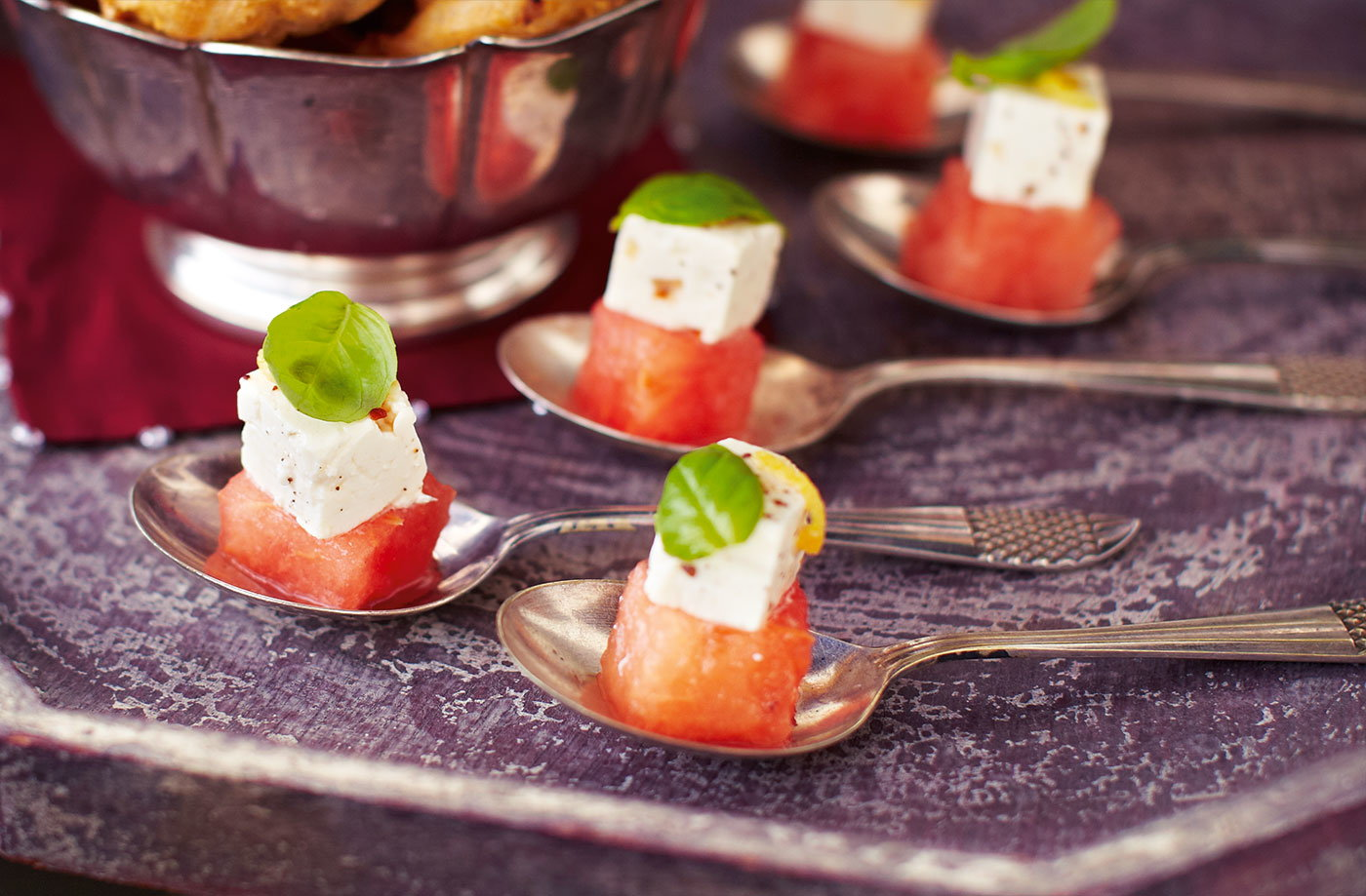 Watermelon with spiced feta and basil tesco real food for Canape bases ideas