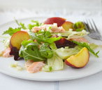 Kosher Yom Tov salmon with peach salad