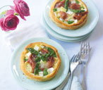 Asparagus and camembert tarts