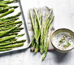 Asparagus with orange and basil dip
