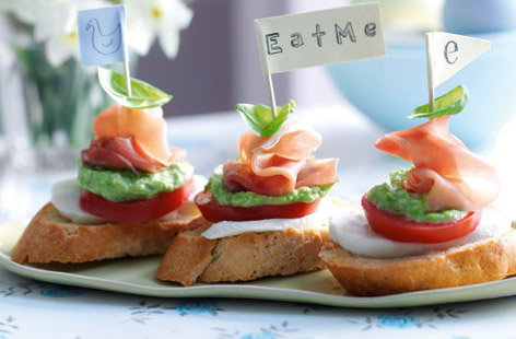 avocado tomato and parma ham crostini towers HERO