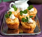 Baby Yorkshires with lemon horseradish crème