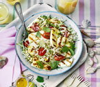 Barley, courgette and mint salad with barbecued halloumi