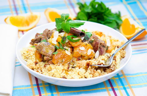beef, apricot and almond couscous (h)