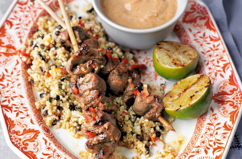 Beef skewers with satay sauce
