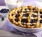Bilberry pie with cream