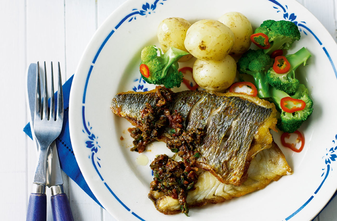 Pan fried sea bream with olive and tomato tapenade tesco for Pan fish recipe