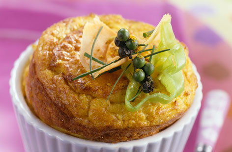 Caribbean crab and curry soufflé