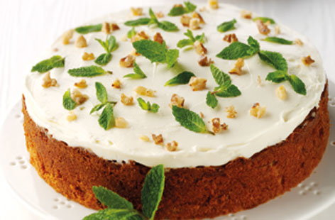 Mint topped carrot cake