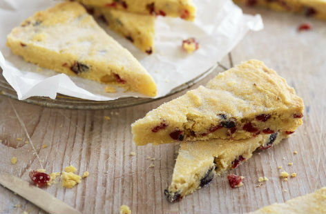 Cherry and cranberry shortbread