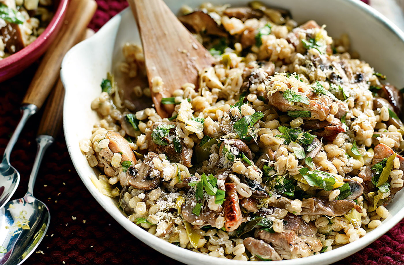 Try this fantastic risotto made with pearl barley, chicken, leeks and