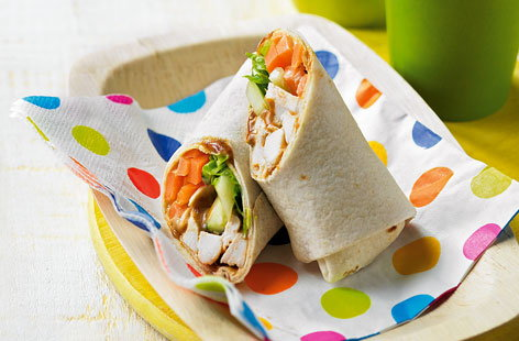 Hoi-sin chicken salad wraps