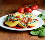 Dairy free tofu stuffed shells with tomato sauce