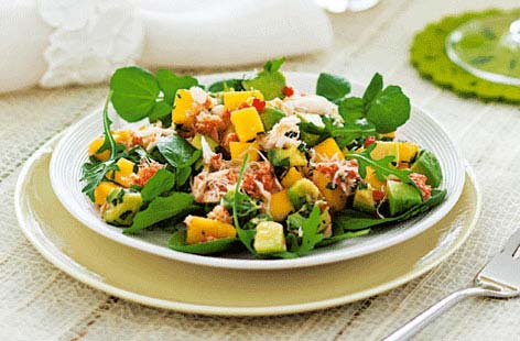 Crab, mango and avocado salad