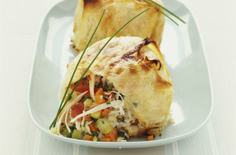 Crab & vegetable filo pastry pie