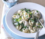 Pasta with creamy, garlicky greens