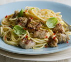 Creamy chilli and garlic sausage pasta