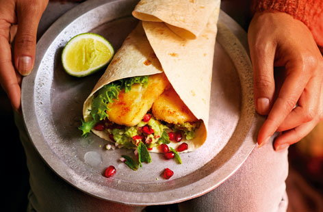 Crisp halloumi and guacamole wraps