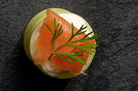 Cucumber cups with smoked salmon
