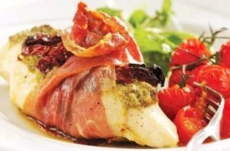 Chicken Breast Fillet Stuffed with Goats Cheese Wrapped in Parma Ham ...