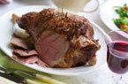 Roast leg of lamb with redcurrant glaze