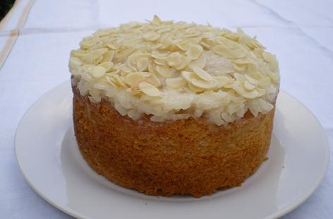 Coconut Cake with Cream Rice Topping