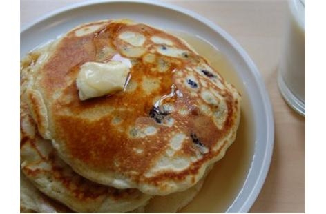 American breakfast blueberry pancakes