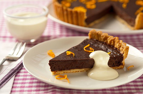Chocolate, orange and crème fraiche tart