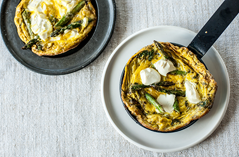 Bruno Loubet's grilled asparagus, soft cheese and mint frittata