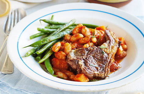 Lamb with rosemary braised beans