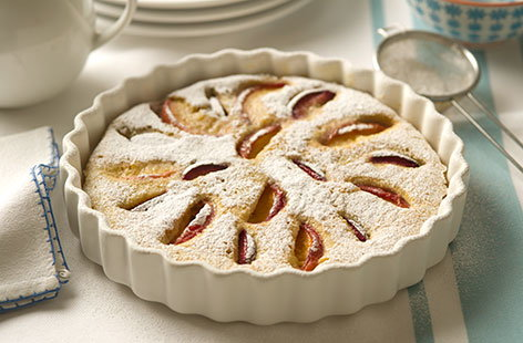 Plum and peach clafoutis