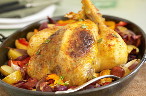 Roast chicken with chorizo and roasted vegetables