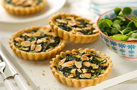 Spinach and almond tarts