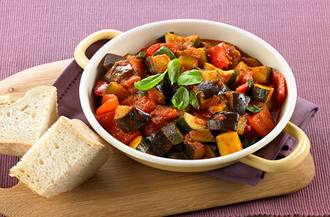 Tomato and garlic ratatouille