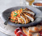 Indian chicken with carrot and chickpea salad