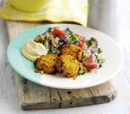 Sweet potato falafel with tomato couscous
