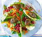 Lamb kofte and pomegranate salad with garlic yogurt