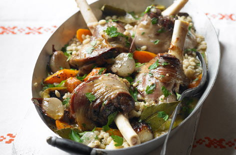 Slow roast lamb and barley